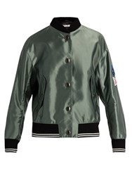 Miu Miu Sleeve Applique Bomber Jacket Green
