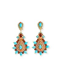 Jose And Maria Barrera Starburst Cabochon Teardrop Clip On Earrings Multi