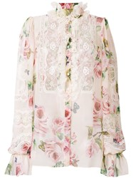 Dolce And Gabbana Floral Print Lace Panel Shirt Pink And Purple