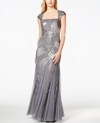 Adrianna Papell Sequin Beaded Ball Gown Sterling