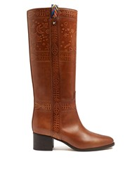 Valentino Embossed Leather Knee High Boots Tan