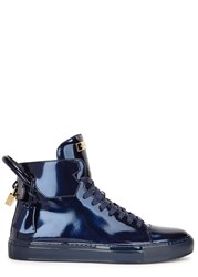 Buscemi 125Mm Metallic Blue Leather Hi Top Trainers