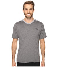 The North Face Reactor Short Sleeve V Neck Tnf Medium Grey Heather Men's Clothing Gray