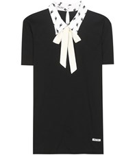 Miu Miu Collared Cotton T Shirt Black