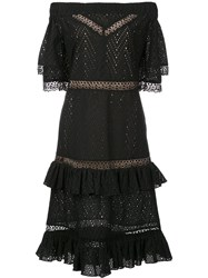 Prabal Gurung Off Shoulder Tiered Ruffle Dress Black