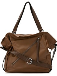 Mara Mac Front Zip Tote Bag Brown