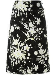 Celine Textured Floral Pattern Skirt Black