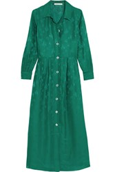 Maje Jacquard Midi Dress Forest Green