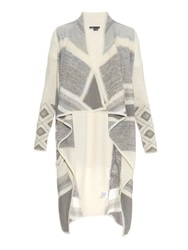 Vince Graphic Block Print Open Front Cardigan