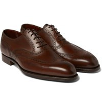 George Cleverley Reuben Burnished Leather Wingtip Brogues Dark Brown
