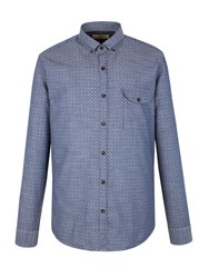 Gibson Polka Dot Tailored Fit Long Sleeve Shirt Blue