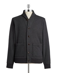 Brooks Brothers Red Fleece Chevron Shawl Collar Cardigan Grey