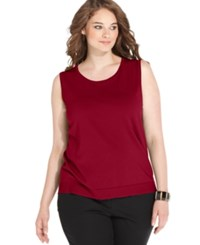 August Silk Plus Size Sleeveless Shell Uno Red