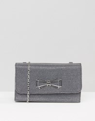 Ted Baker Glitter Foldover Clutch Bag With Bow Detail Jet Grey