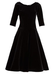 Vika Gazinskaya Full Skirt Velvet Midi Dress Black