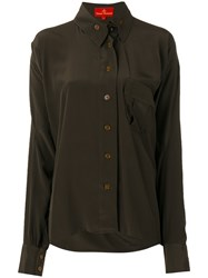 Vivienne Westwood Red Label Patch Pocket Shirt Women Silk 44 Brown