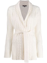 N.Peal Belted Cable Knit Cardigan White