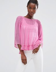 Mango Loose Fit Top With Frill Hem Pastel Pink