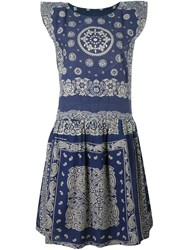 Visvim Printed Flared Dress Blue