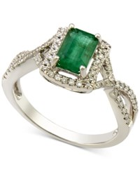 Macy's Emerald 3 4 Ct. T.W. And Diamond 1 4 Ct. T.W. Twist Ring In 14K White Gold