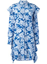 Msgm Floral Print Shirt Dress Blue