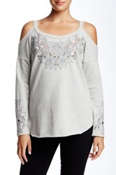 3J Workshop Cold Shoulder Embroidered Blouse Gray