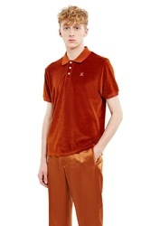 Opening Ceremony Velour Short Sleeve Polo Tobacco