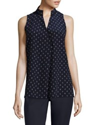 Lafayette 148 New York Eloise Sleeveless Printed Silk Blouse Galaxy Blue
