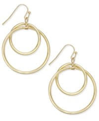 Inc International Concepts Gold Tone Double Hoop Drop Earrings Only At Macy's