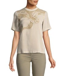 Elie Saab Short Sleeve Blouse With Lace White