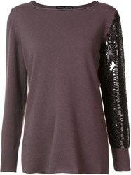 Fabiana Filippi Sequinned Sleeve Jumper Grey