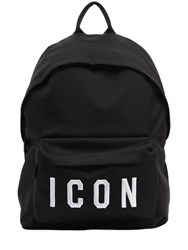 Dsquared Icon Patches Nylon Canvas Backpack Black