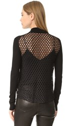 Mcq By Alexander Mcqueen Crochet Back Zip Bomber Darkest Black