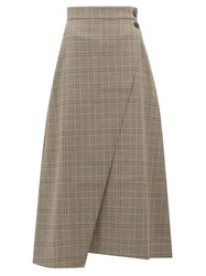 Cefinn High Rise Prince Of Wales Check Midi Skirt Brown Multi