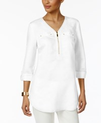 Jm Collection Zipper Front Tunic Only At Macy's Bright White