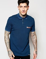Pretty Green Polo Shirt With Paisley Trim In Blue Blue