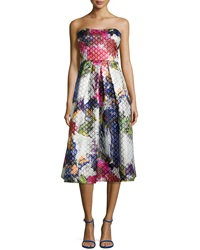 Phoebe By Kay Unger Strapless Floral Print Tea Length Dress