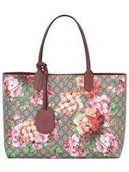 Gucci Blooms Printed Gg Leather Tote Bag