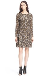 Women's Burberry Brit 'Geri' Camo Print Textured Mulberry Silk Dress