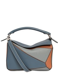 Loewe Small Puzzle Color Block Leather Bag Steel Blue Tan