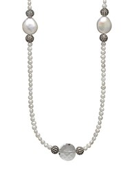 Lord And Taylor Sterling Silver 12 13Mm Freshwater Coin Pearl Necklace With Swarovski Crystal Beads