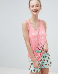 Brave Soul 'You Are One In A Melon' Pyjama Shorts Set Pink