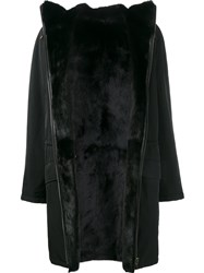 Yves Salomon Mink And Lamb Fur Lined Coat Black