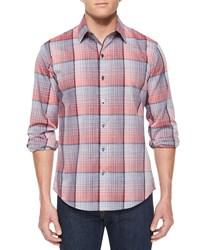 Zachary Prell Woven Plaid Long Sleeve Shirt Red Pattern Red Pattrn