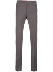 Kiton Mid Rise Slim Fit Trousers Grey