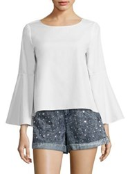 Alice Olivia Shirley Bell Sleeve Cotton Tunic White
