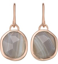 Monica Vinader Siren Wire 18Ct Rose Gold Plated And Grey Agate Earrings