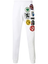 Dsquared2 Embroidered Patched Track Pants Men Cotton Xs White