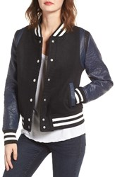 Vigoss Women's Wool And Faux Leather Baseball Jacket