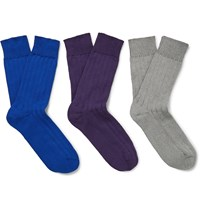 Schiesser Kuno Three Pack Ribbed Cotton Socks Multi